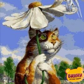 Купить картину по номерам Babylon Premium Кот с ромашкой (в раме), 40*50 см, NB2076