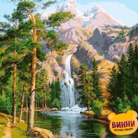 Купить картину по номерам Babylon Premium Водопад в сосновом лесу (в раме), 40*50 см, NB957