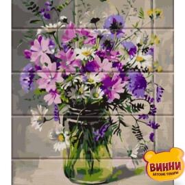 Купить роспись по номерам на дереве ArtStory Полевой букет 30*40 см, ASW084