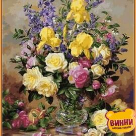 Купить картину по номерам Babylon Premium Желтые ирисы и розы (в раме), 40*50 см, NB1051