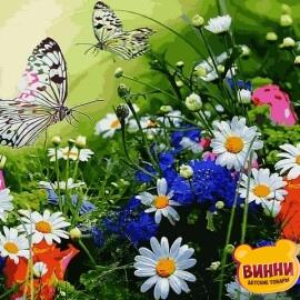Купить картину по номерам Babylon Цветочное поле и бабочки, 40*50 см VP1254