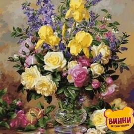 Купить картину по номерам Babylon Желтые ирисы и розы, 50*65 см VPS1051