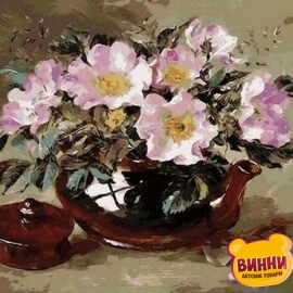 Купить картину по номерам Mariposa Шиповник в глиняном чайнике, 40*50 см Q1052