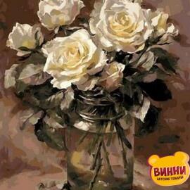 Купить картину по номерам Mariposa Белые розы в банке, 40*50 см Q1068
