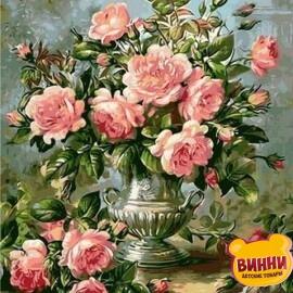 Купить картину по номерам Mariposa Розы в серебряной вазе, 40*50 см Q1117