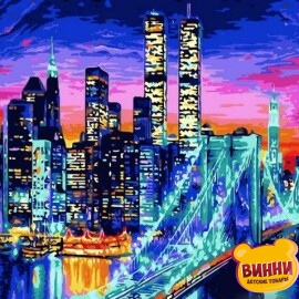 Купить картину по номерам Mariposa Бруклинский мост в огнях, 40*50 см Q1434