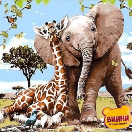 Купить картину по номерам Mariposa Слоненок и жираф, 40*50 см Q2089