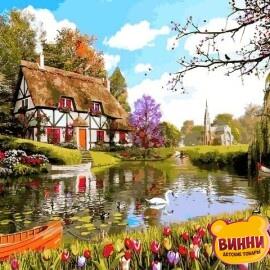 Купить картину по номерам Mariposa Домик среди тюльпанов, 40*50 см Q2203