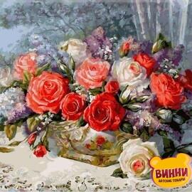 Купить картину по номерам Babylon Розы на веранде, 40*50 см VP337