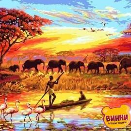 Купить картину по номерам Babylon Premium Закат над Нилом (в раме), 40*50 см, NB419
