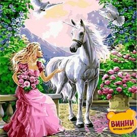 Купить картину по номерам Babylon Принцесса и ее единорог, 40*50 см VP437