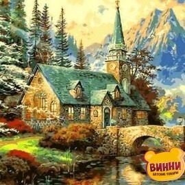 Купить картину по номерам Babylon Альпийский пейзаж Часовня, 50*65 см QS497