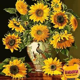 Купить картину по номерам Babylon Подсолнухи в вазе с павлинами, 40*50 см VP946