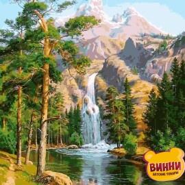 Купить картину по номерам Babylon Водопад в сосновом лесу, 40*50 см VP957