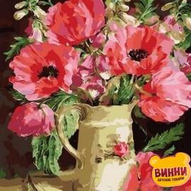 Купить картину по номерам Mariposa Букет из маков и акации, 40*50 см Q996