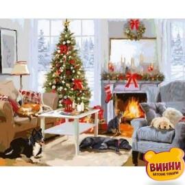 Купить картину по номерам Babylon Рождественское утро у камина, 40*50 см VP998