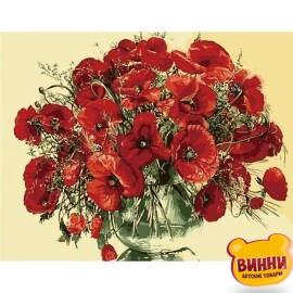 Купить картину по номерам Идейка Красные маки в стеклянной вазе, 40*50 см Идейка KHO1076