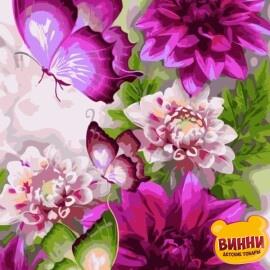 Купить картину по номерам ArtStory AS0216 Цветы и бабочки