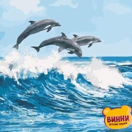 Купить картину по номерам ArtStory AS0670 По волнам, дельфины
