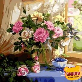 Купить картину по номерам Mariposa Натюрморт с розами и черникой, 40*50 см Q1433