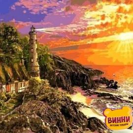 Купить картину по номерам Mariposa Маяк на закате, 40*50 см Q2230