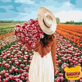 Купить картину по номерам Идейка Охапка тюльпанов, 40*40 см KHO4725
