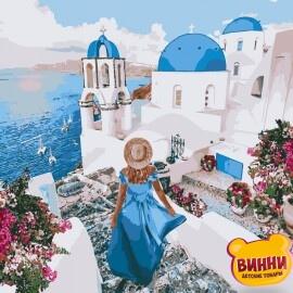 Купить картину по номерам Идейка Незабываемый Санторини, 40*40 см KHO4729