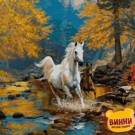 Купить картину по номерам Babylon Первая осень, пейзаж, лошади, 40*50 см VP925