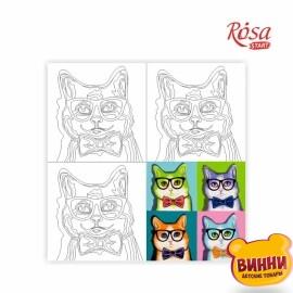 Холст с контуром Pop Art Cat, 30*30 см в пленке, ROSA START