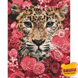 Леопард в цветах, 40*50 см KHO4185