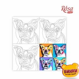 Холст с контуром Pop Art Dog собака, 30*30 см в пленке, ROSA START