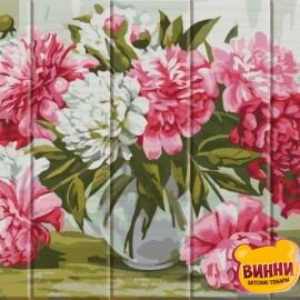 Купить роспись по номерам, картину на дереве ArtStory Ароматный букет, пионы 30*40 см, ASW008