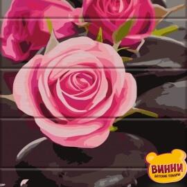 Купить роспись по номерам, картину на дереве ArtStory Розы на камнях 30*40 см, ASW081