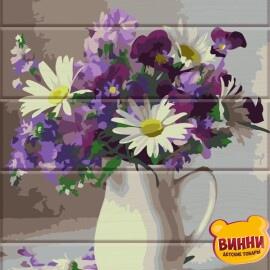Купить роспись по номерам, картину на дереве ArtStory Цветы в кувшине 30*40 см, ASW082