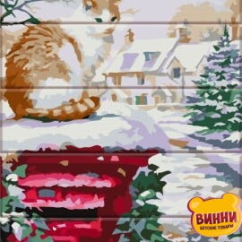 Купить роспись по номерам, картину на дереве ArtStory Зима пришла 30*40 см, ASW091