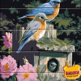 Купить роспись по номерам, картину на дереве ArtStory Птицы в цветах 30*40 см, ASW094