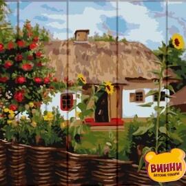 Купить роспись по номерам, картину на дереве ArtStory Дом в селе 30*40 см, ASW103