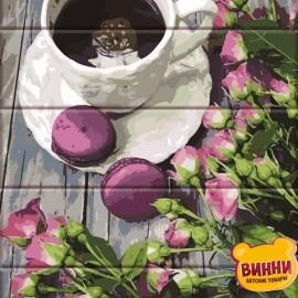 Купить роспись по номерам, картину по номерам на дереве ArtStory Кофе и розы 30*40 см, ASW111