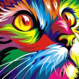 Купить картину по номерам Babylon Радужный кот, 30*40 см VK002