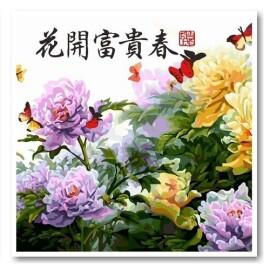 Купить триптих, модульную картину по номерам Babylon Японские хризантемы, VPT023