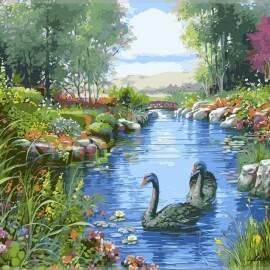 Купить картину по номерам Babylon Черные лебеди, 40*50 см VP127