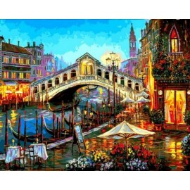 Купить картину по номерам Mariposa Огни ночной Венеции, 40*50 см, Q2173