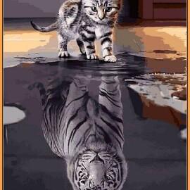 Купить картину по номерам Babylon Premium Душа тигра, отражение силы (в раме), 40*50 см, NB2181