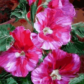 Купить картину по номерам Mariposa Яркие мальвы, 40*50 см, Q2183