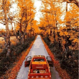 Купить картину по номерам Mariposa Дорога через осенний лес, 40*50 см, Q2188