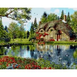 Купить картину по номерам Mariposa Пруд с лебедями, 40*50 см, Q2201