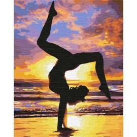 Купить картину по номерам Идейка Йога на закате, 40*50 см KHO4749