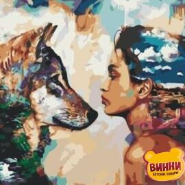 Купить картину по номерам Девушка и волк, 40*50 см, VA-0064