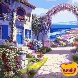 Купить картину по номерам Домик с цветами, 40*50 см, VA-0481