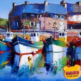 Купить картину по номерам Яркие лодки, 40*50 см, VA-1000